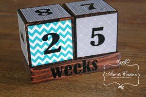 Pregnancy Countdown Blocks Teal and Grey