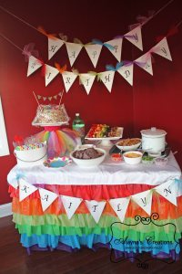 Rainbow Ruffled Plastic Tablecloth Birthday