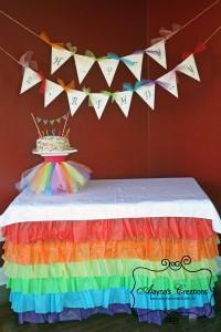 Ruffled Plastic Tablecloth Tutorial Rainbow