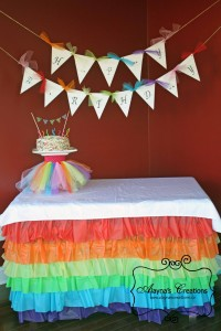 Ruffled Plastic Tablecloth Tutorial Rainbow