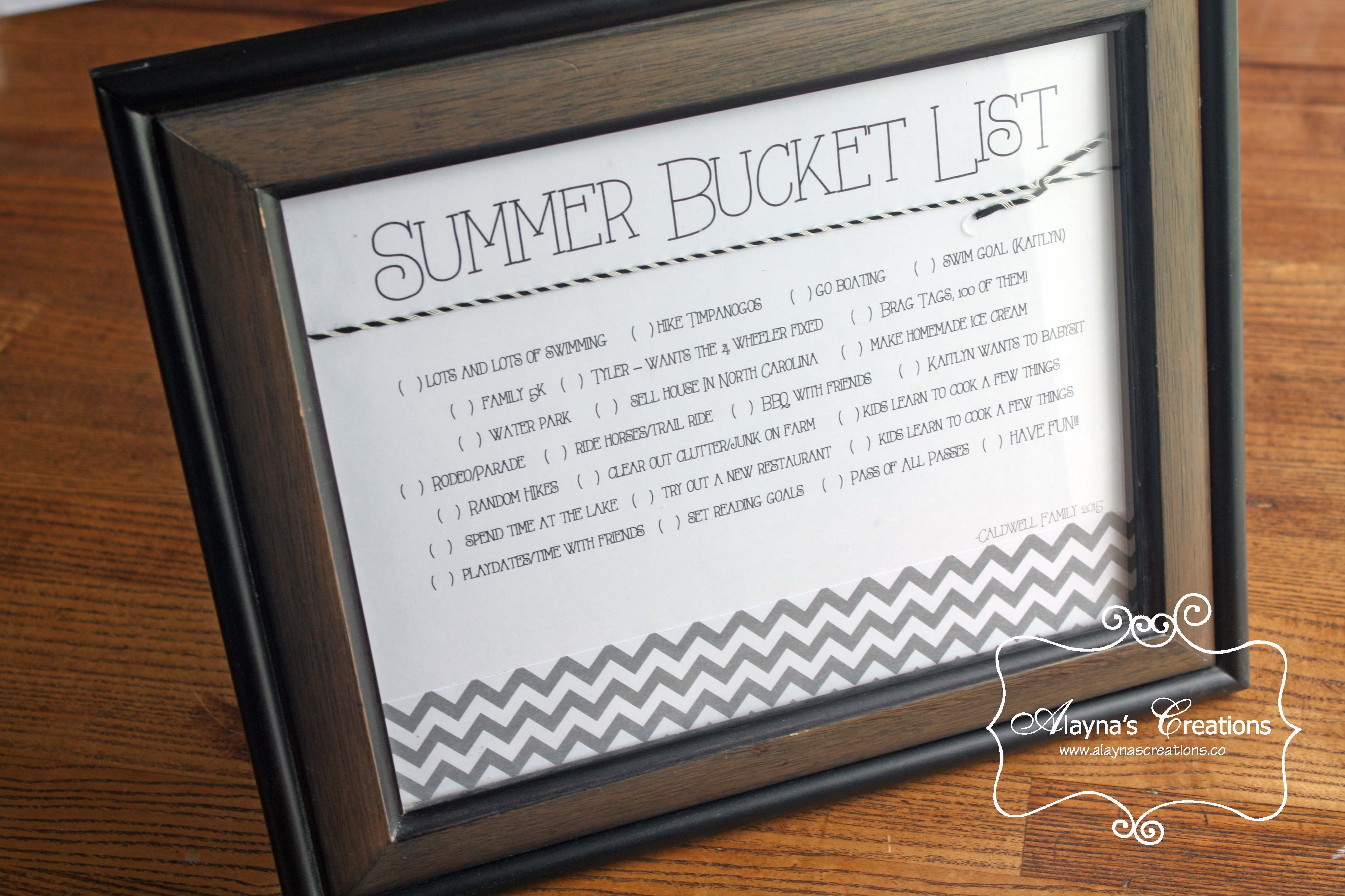 Own Bucket List For Summer