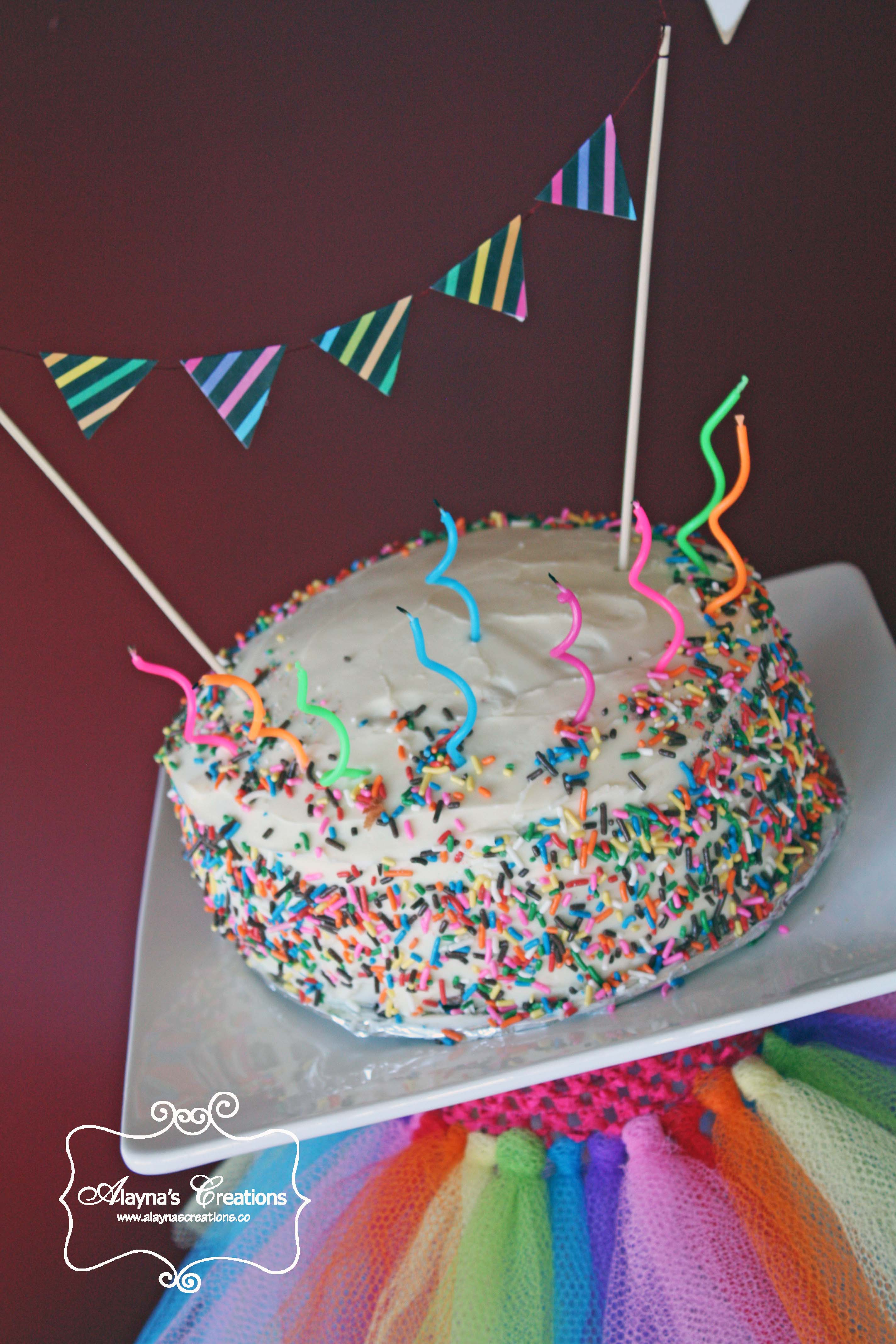 Rainbow Birthday Cake With Pennant Banner A