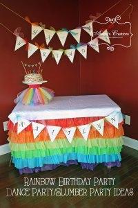 Rainbow Dance Birthday Party Cake Table Decorations B