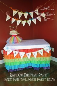Rainbow Dance Birthday Party Cake Table Decorations B