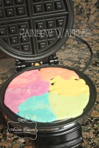 Rainbow Waffles for Slumber Party
