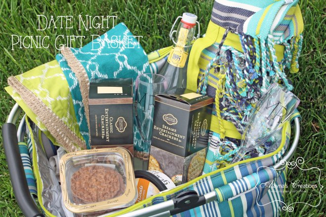 Date Night Picnic Gift Basket for Wedding or Bridal Shower