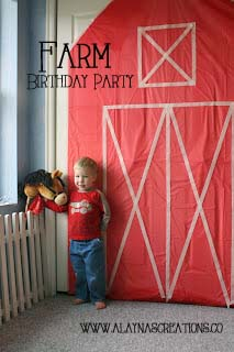 Farm Birthday Party Plastic Tablecloth Barn Backdrop easy and inexpensive