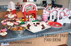 Farm Party Food Table Ideas with farm animal cupcakes tin buckets and farm animal plates and cups