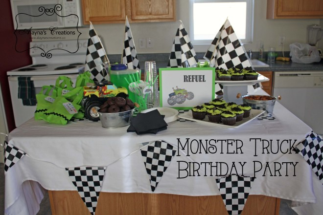 Monster Truck Birthday Party Food Table Display and Ideas