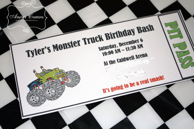 Monster Truck Birthday Party Invitations Pit Pass Style