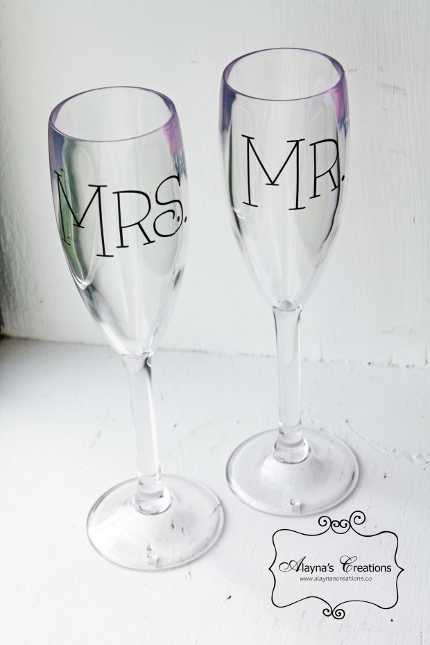 Mr and Mrs Personalized Wine Glasses