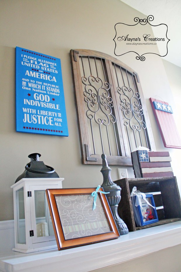 Patriotic Home Decor Display on shelf ledge