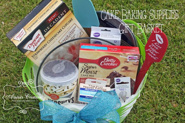 Gift Basket Idea Cake Baking Supplies includes cake stand baking pans and more