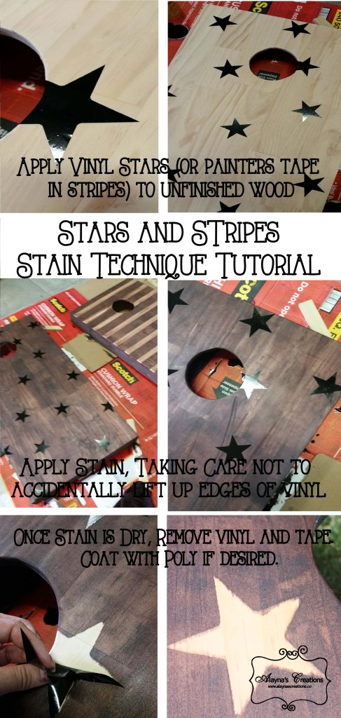 How To Get This Look Tutorial for Stars and Stripes Corn Hole Board Stain Technique