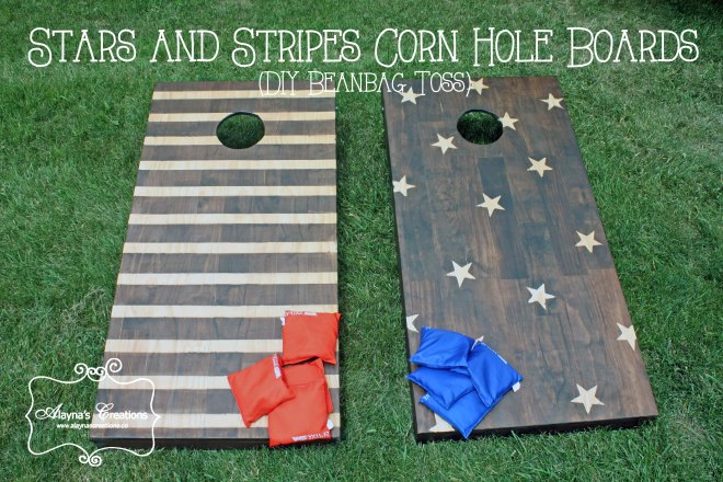 Stars and Stripes Corn Hole Boards DIY beanbag toss yard game
