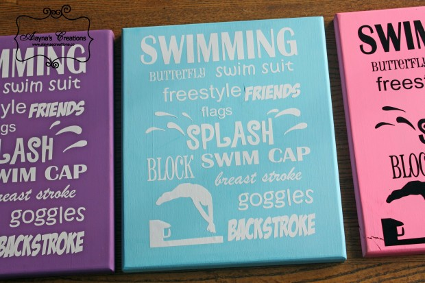 Swimming Subway Art using wooden board and vinyl lettering