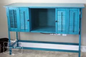 Turqouise Console table DIY with shutters