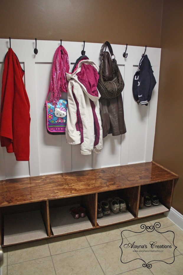 Entry Mud Room Redo After Photo of new built ins for shoes coats and more