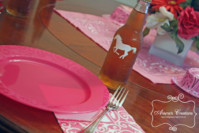 Horse Birthday Party Dinner Table Setting and Decor pink brown