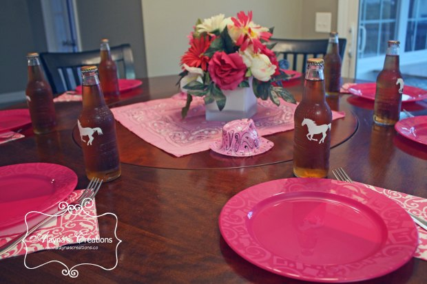 Horse Cowgirl Birthday Party Tablescape for dinner in pink and brown