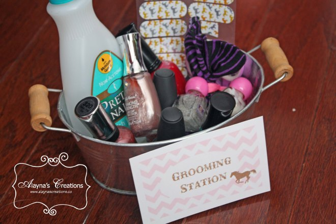 Horse Party Grooming Station Manicure Pedicure activity for cowgirl slumber party