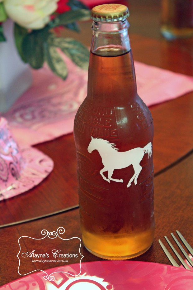 Horse Vinyl Decal on Soda Bottle for birthday party Silhouette machine