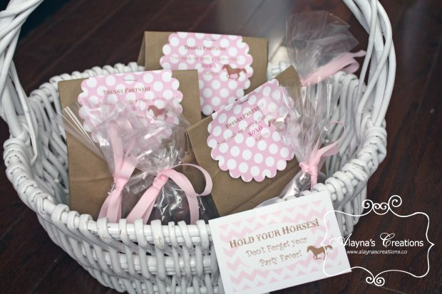 Party Favors for Horse Themed Birthday Party for girls in pink and brown