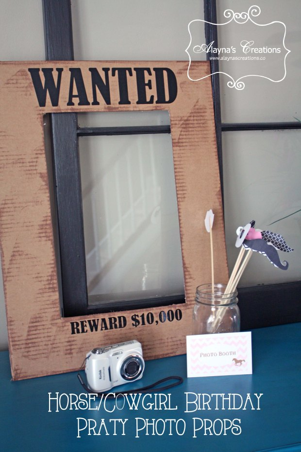 Photo Props for Birthday Party Cowgirl Horse Theme includes Wanted Poster and fake mustaches