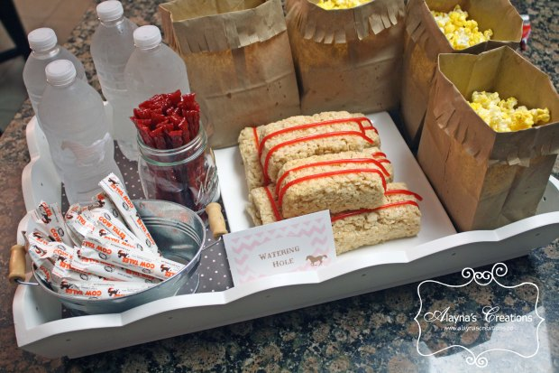 Slumber Party Treats for Watching movies for Cowgirl Horse birthday party