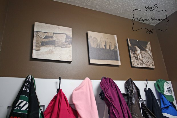 Wall Decor take close up photos of feet and shoes and mount them on the wall of the mud room