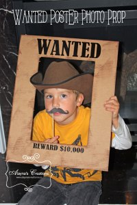 Wanted Poster Photo prop for cowboy or cowgirl horse birthday party