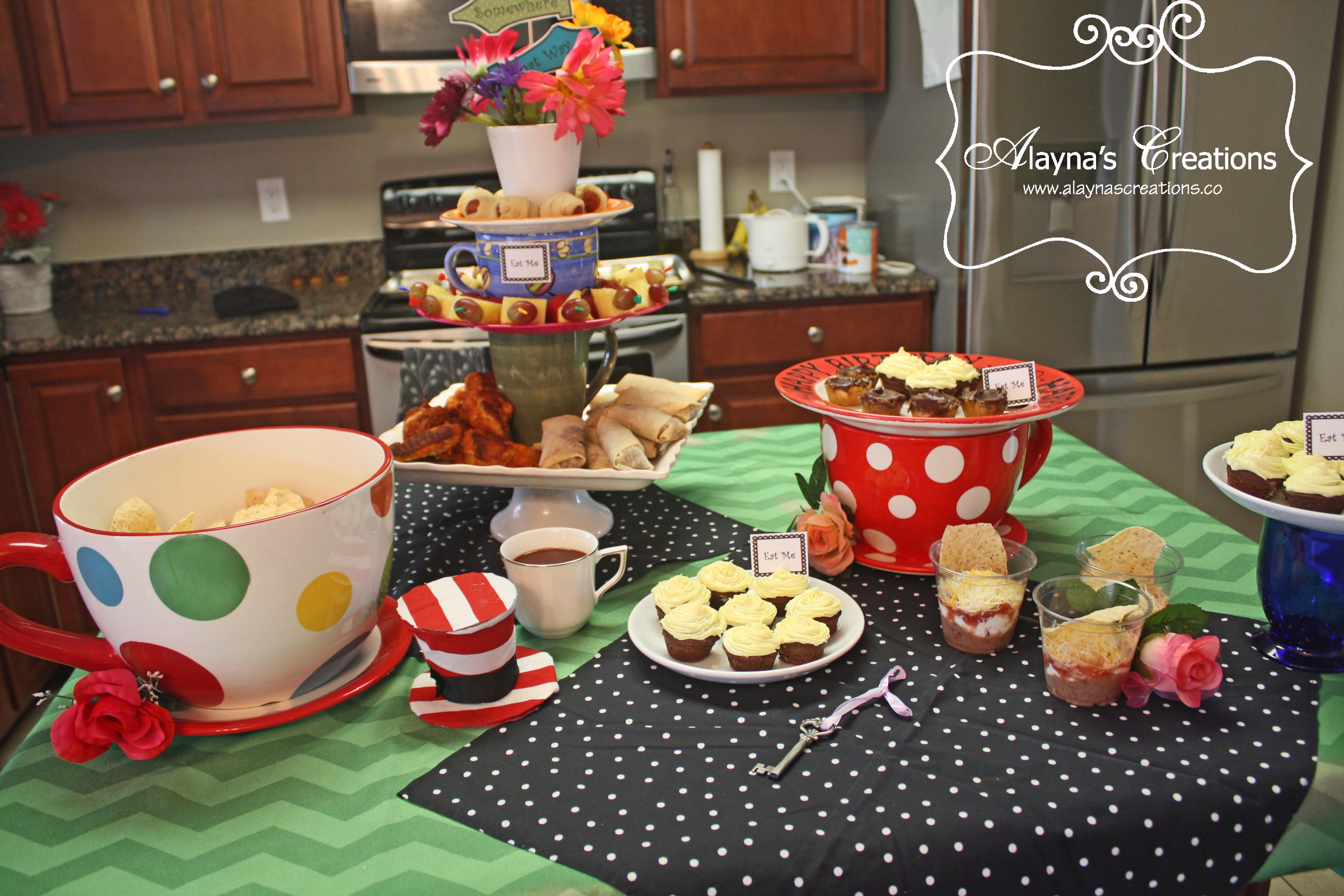 Alice in wonderland archives diy home decor and crafts alice in wonderland tea party food table arubaitofo Choice Image