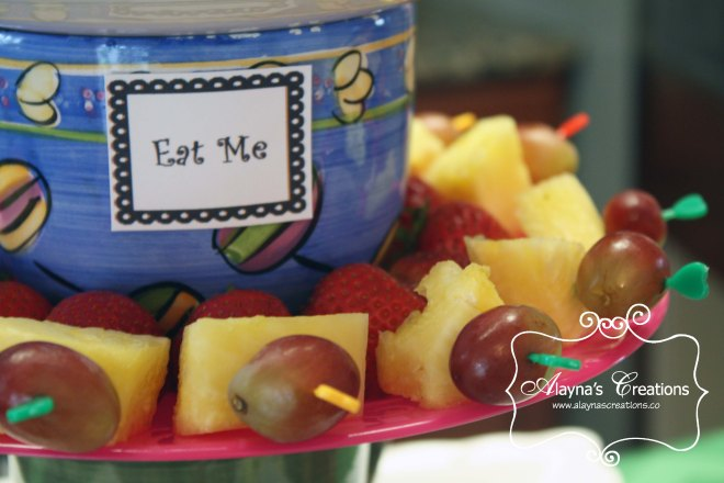 Alice in Wonderland Tea Party Fruit Skewers Eat Me