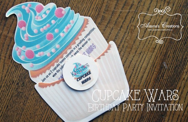 Cupcake Wars Birthday Party Invitation Cupcake Themed DIY Invites