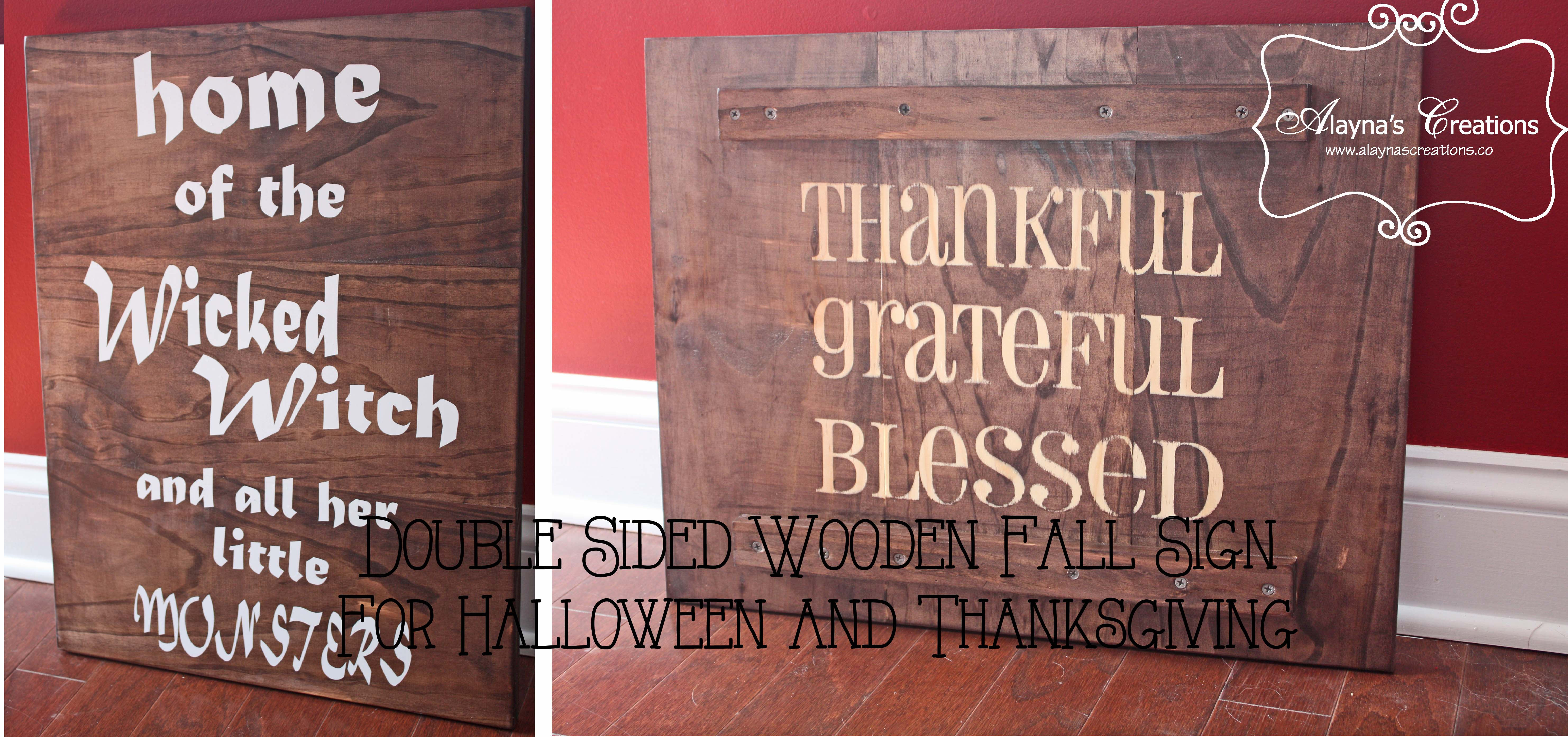 diy wooden sign for fall double sided for halloween and. Black Bedroom Furniture Sets. Home Design Ideas