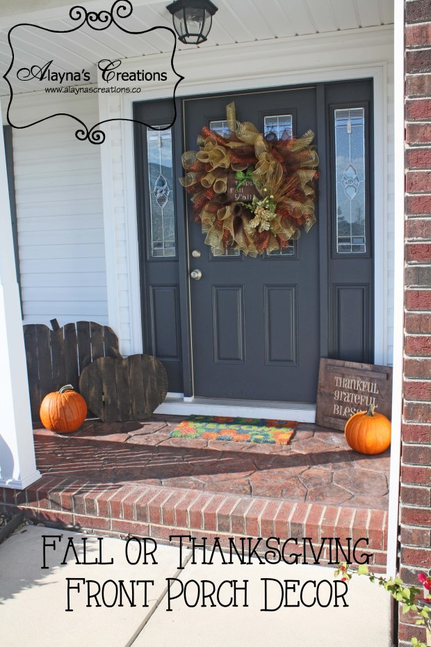 Fall and Thanksgiving Front Porch Decor includes wooden pallet pumpkins deco mesh wreath and double sided wooden sign for Halloween and Thanksgiving