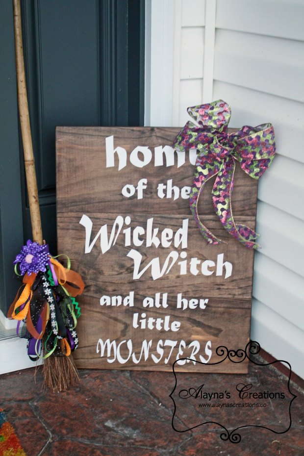 Wooden Halloween Porch Sign Home of the Wicked Witch and all her Little Monsters Double Sided
