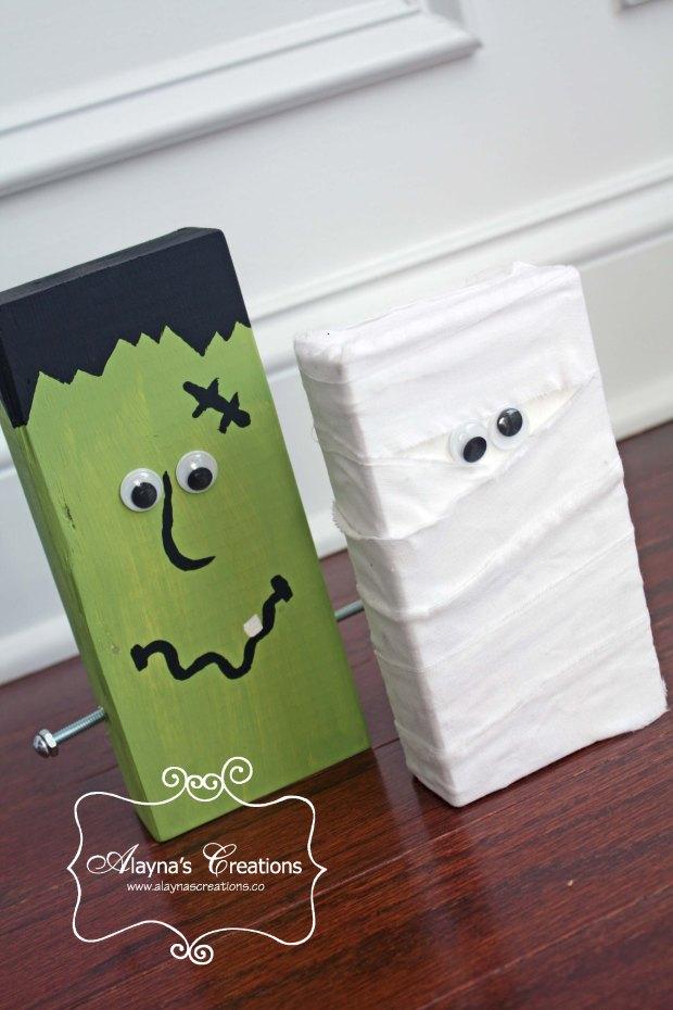 2x4 Wooden Crafts For Halloween Frankenstein and Mummy Easy DIY