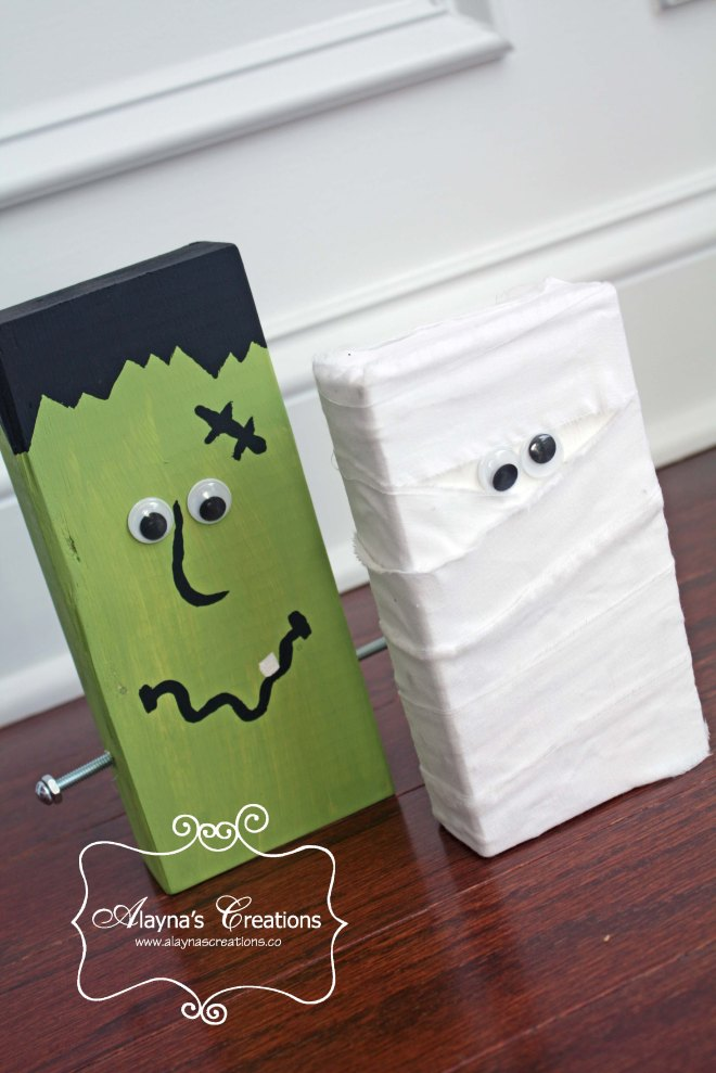 2x4 Wooden Crafts For Halloween Frankenstein and Mummy Easy DIY