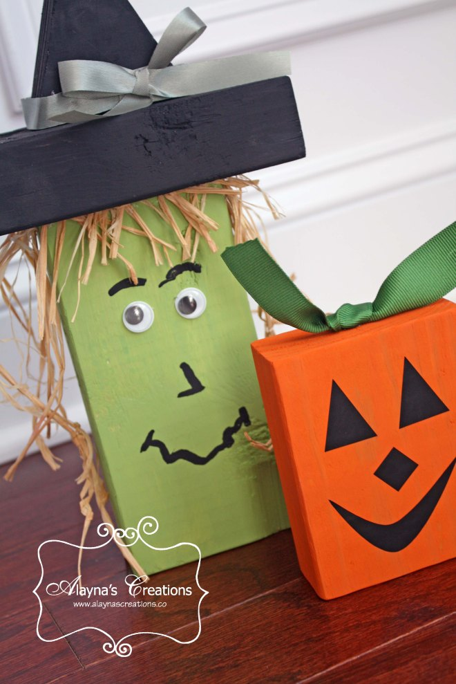2x4 Wooden Crafts For Halloween Witch and Pumpkin Easy DIY