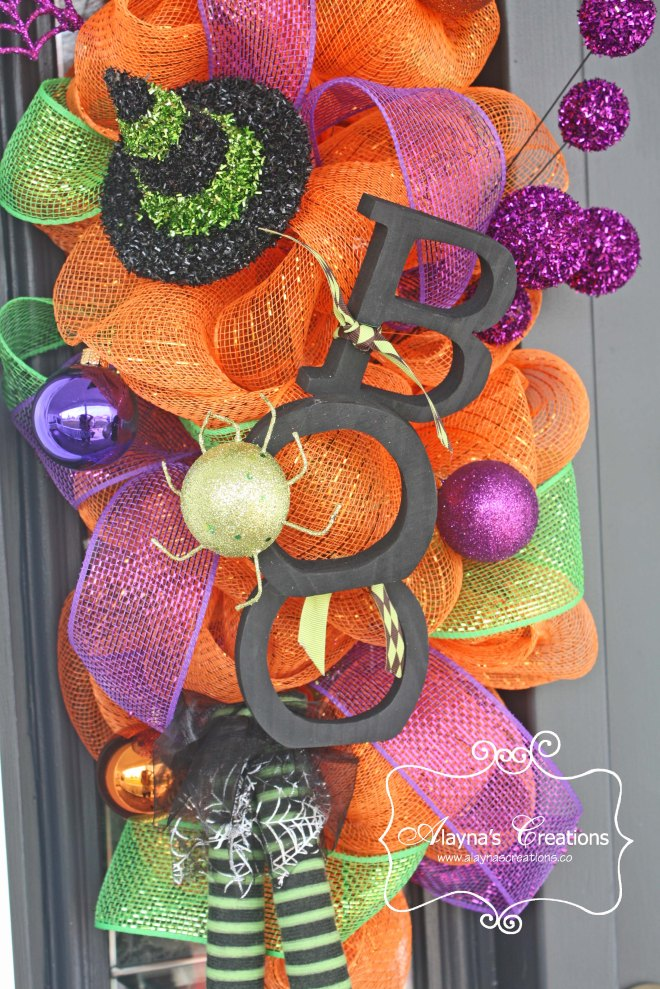 Boo Front Door Wreath Deco Mesh Swag
