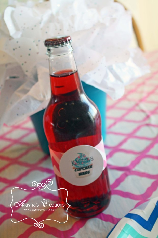 Cupcake Birthday Party drink labels using the party logo