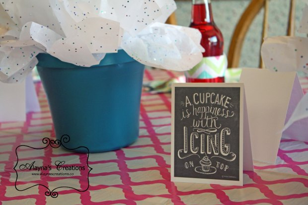 Cupcake Quotes for centerpieces at Cupcake Wars Birthday Party A cupcake is happiness with icing on top