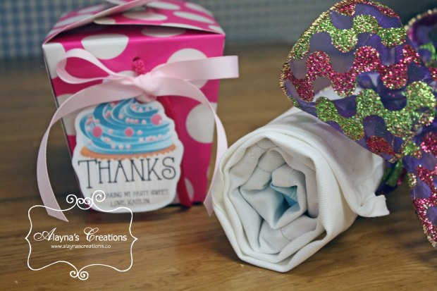 Cupcake Wars Birthday Party Favors include Take Home Box for their cupcake creations and an apron