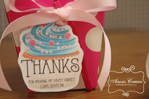 Cupcake Wars Birthday Party Favors Tag says Thanks for making my party sweet Thank You