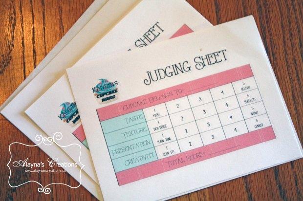 Cupcake Wars Birthday Party Judging Sheets