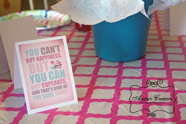 Cupcake Wars Birthday Party table decorations and centerpiece included fun cupcake quotes