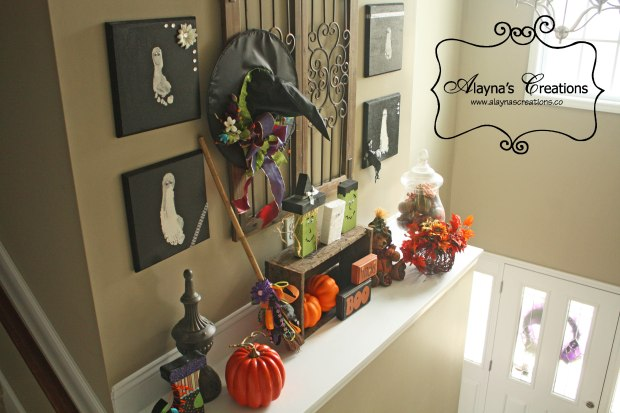Decorate with Witch Hats for Halloween Fall mantle decorations