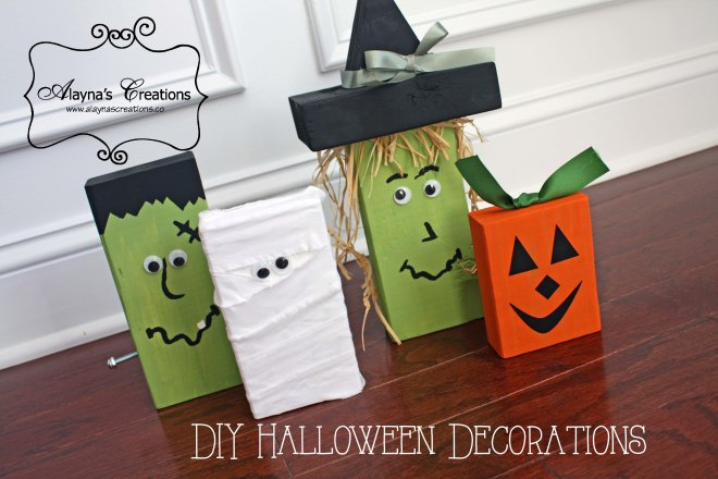 DIY Wooden Halloween Decor Monsters using 2x4s includes tutorial