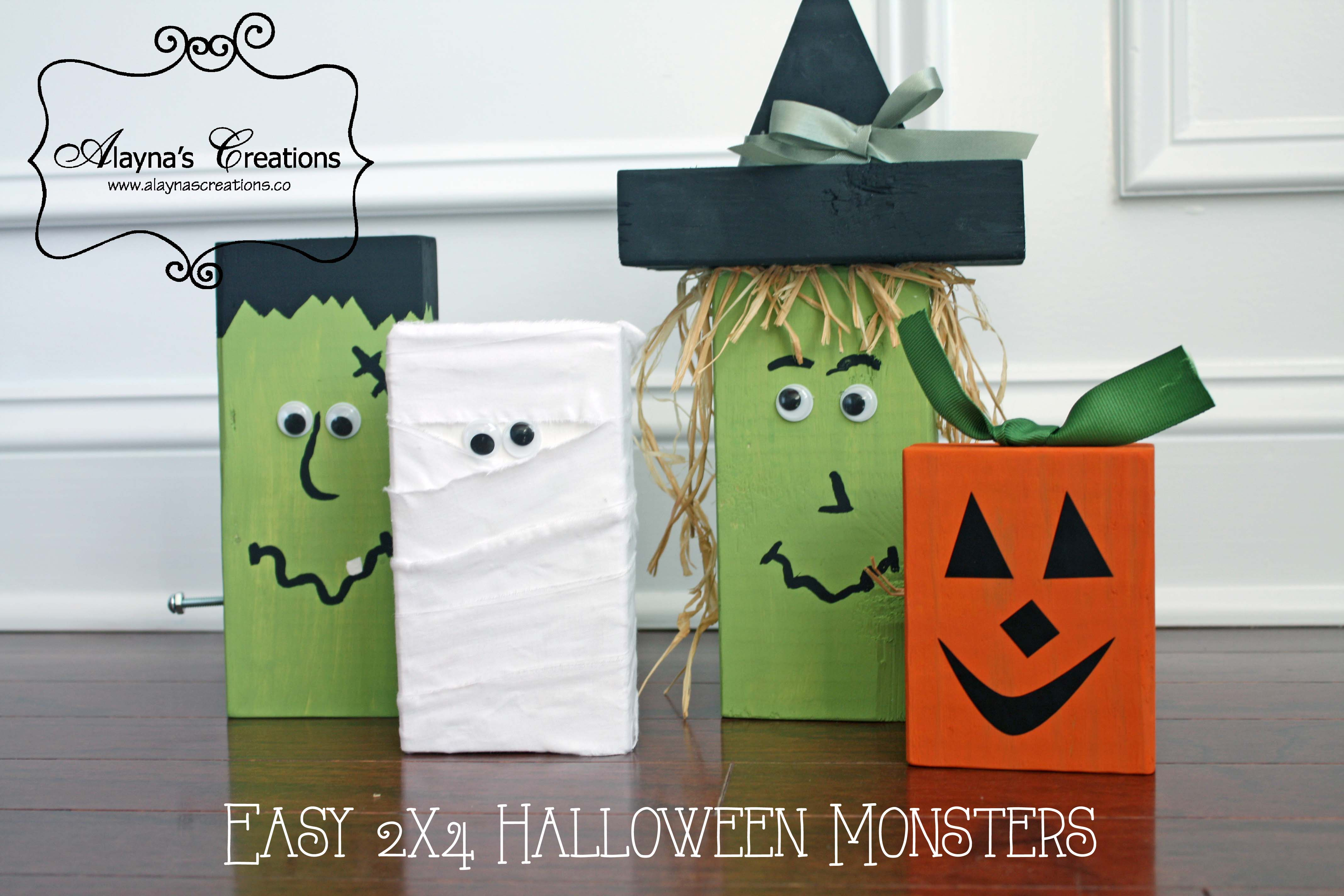 easy 2x4 halloween monsters tutorial for diy wooden halloween craft featureing frankenstein witch pumpkin and mummy - Halloween Projects Diy